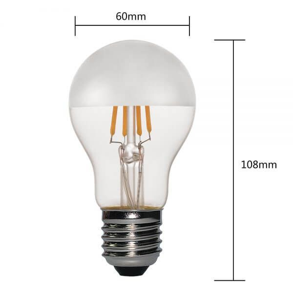 Silver Crown Mirror Globe A19 Deep Dimmable